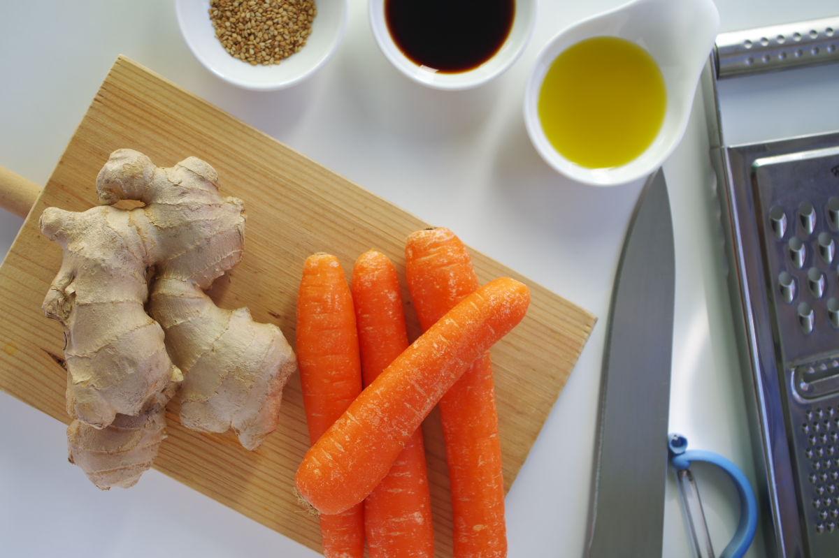 Ingredientes para Ensalada de Zanahoria y Jengibre