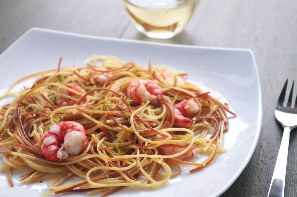 Espagueti con Gambas