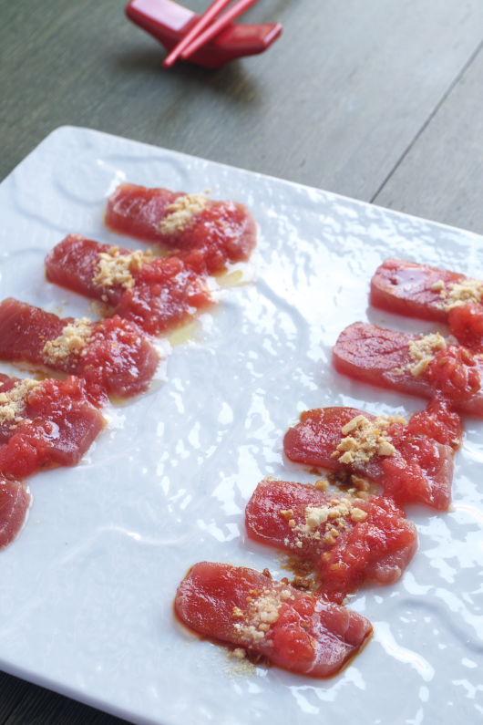 Sashimi con Tomate y AOVE para MOSAICO DE RECETAS